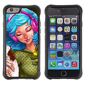 All-Round híbrido Heavy Duty de goma duro caso cubierta protectora Accesorio Generación-II BY RAYDREAMMM - Apple iPhone 6 PLUS 5.5 - Blue Hair Woman Headphones Grunge Drawing