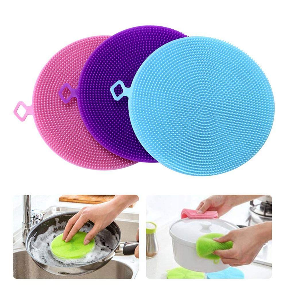 Silicone Dish Sponge AOLVO 3PCS Multi-purpose Dish Scrubber Wash Cloth Dirt Cleaning For Kitchen Bathroom, Food Grade Antibacterial Washing Brush Scrubber For Instant Pot Steamer Basket, Pot Pan, Dish