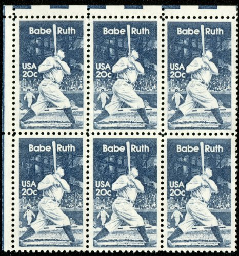 (BABE RUTH - THE BAMBINO - SULTAN OF SWAT #2046 Block of 6 x 20¢ US Postage Stamps)