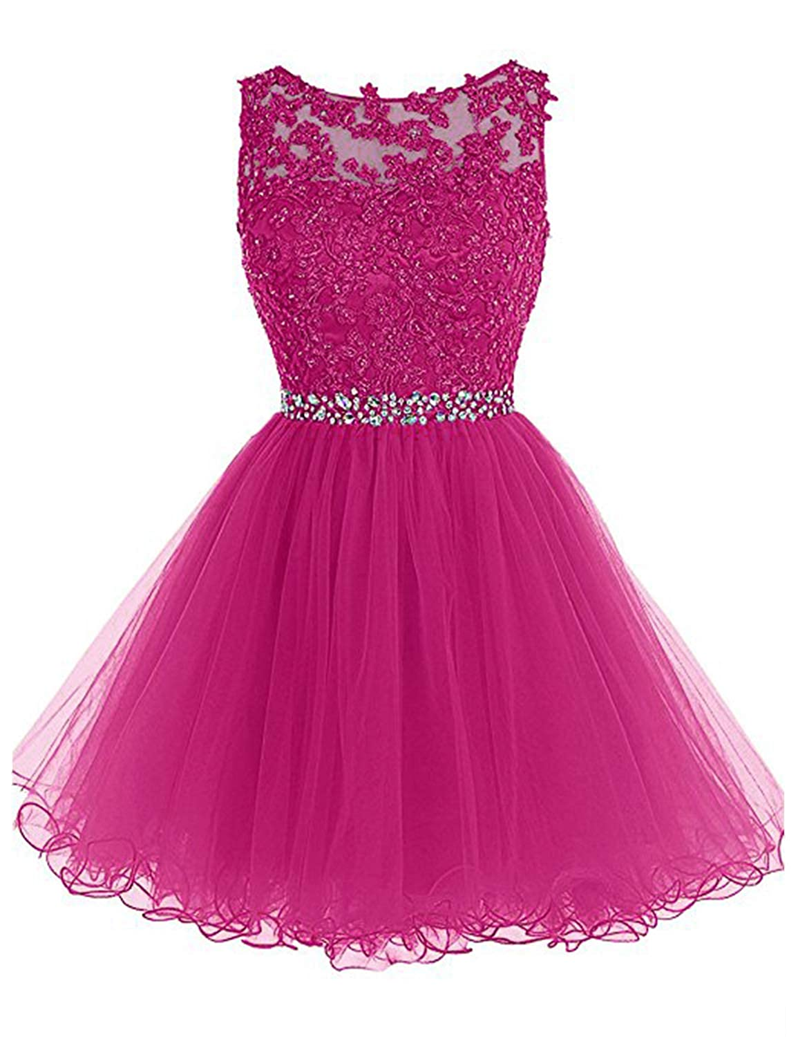 0 Fuchsia Vimans Women's Short Tulle Homecoming Dresses 2018 Knee Length Lace Prom Gowns Dress448