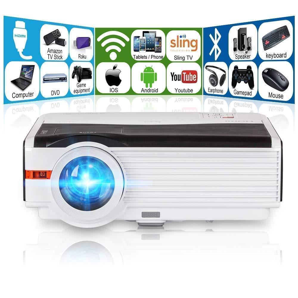 LED プロジェクター WIFI Bluetooth 5000ルーメン 1080P フルHD ホームシアター プロジェクター スピーカー内蔵 Android6.0搭載 HDMIケーブル付き 台形補正 B0135RYSUC