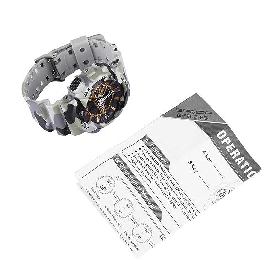 Camuflaje Reloj electrónico para Deportes al Aire Libre Resistente al Agua, con Doble Pantalla Digital y luz de Fondo para Hombres: Amazon.es: Relojes