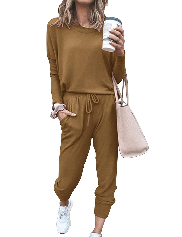 Doaraha Womens Jogger Set Pajama Sets Active Sweatsuits Long Sleeve Pullover Sweatpants 2 Pcs Lounge Set Tracksuits