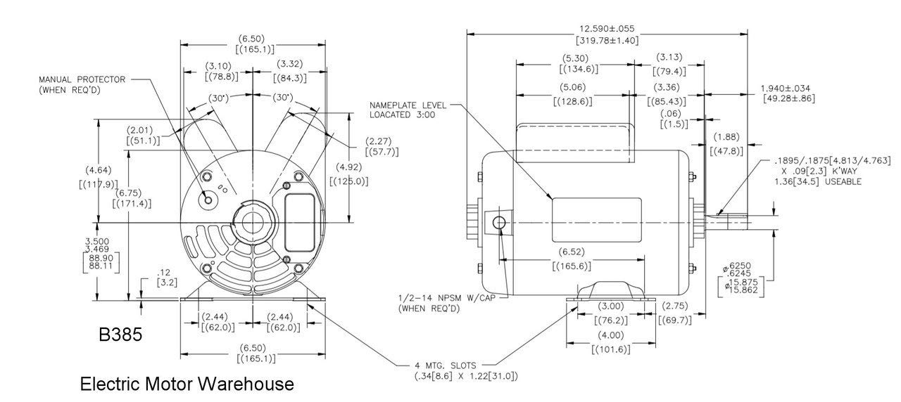5 HP SPL 3450rpm P56 Frame 230 Volts Replacement Air Compressor Motor Magnetek Wiring Diagram One Horse on