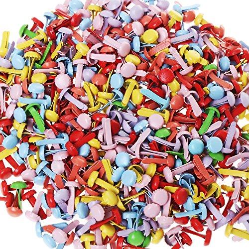Color Scissor 500 Pieces Mini Brads, Round Metal Assorted Colors Brad Paper Fasteners Brads for DIY Scrapbooking Crafts, Color Random