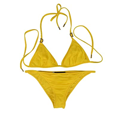 16321c34089a1 Image Unavailable. Image not available for. Color  Dsquared Yellow Metal  Detail Decorated Two Piece Bikini Swimsuit US ...