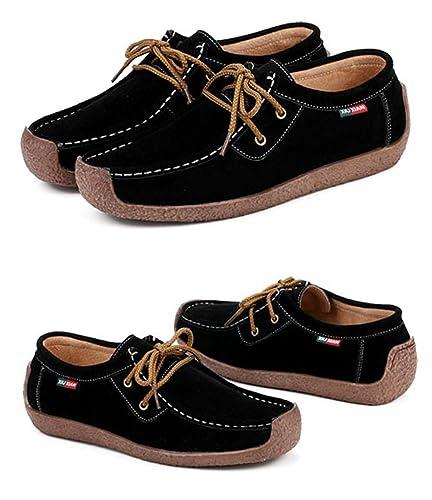 46e686eb170 XIU XIAN Women Snail Casual Lace-up Genuine Leather Flat Sneaker Shoes (4B(