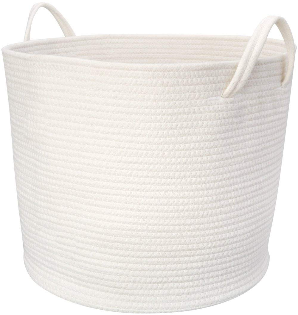 Mkono Cotton Rope Storage Basket | Woven Laundry Basket for Blankets | Toys Storage Basket with Handles | 17''Lx16''Wx14''H Large Home Decorative Organizer Bins for Baby Nursery, Off White by Mkono