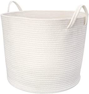 "Mkono Cotton Rope Storage Basket | Woven Laundry Basket for Blankets | Toys Storage Basket with Handles | 17""Lx16""Wx14""H Large Home Decorative Organizer Bins for Baby Nursery, Off White"