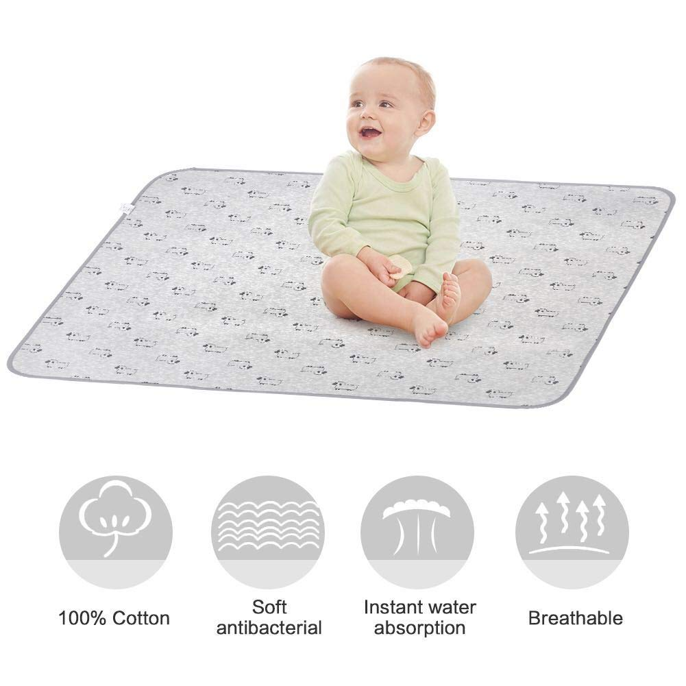 Baby Changing Mat, Unisex Baby Waterproof Diaper Changing Pad with Large Size (20x28) Portable Sheet for Any Places for Home Travel Bed Play Stroller Crib Car - Mattress Pad Cover for Boys and Girls (Blue) SYFUN