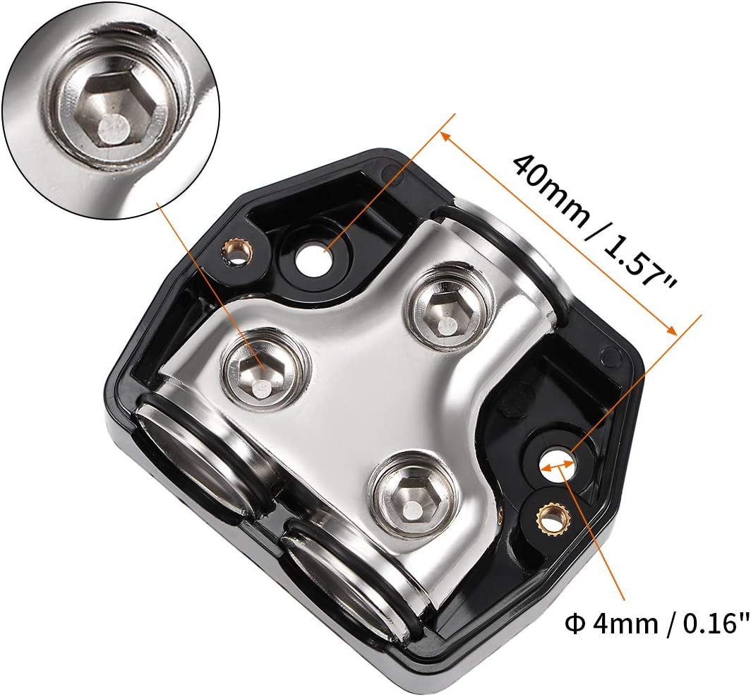 uxcell 2 Way Power Distribution Block 0 Gauge in 0 Gauge Out Amp Power Ground Distributor for Car Audio Splitter