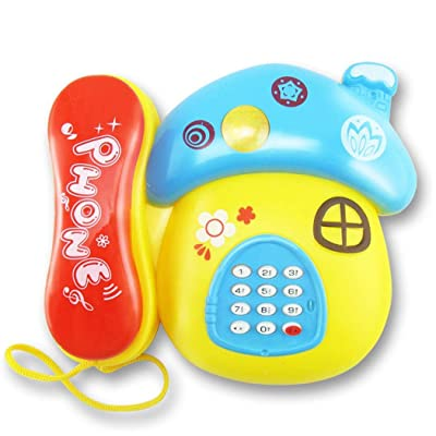 ladiy Kids Phone Toy Cute Cartoon Telephone Baby Early Education Music Toys Party Games & Crafts: Clothing [5Bkhe0305457]
