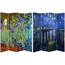 Oriental Furniture 6 ft. Tall Double Sided Works of Van Gogh Canvas Room Divider - Irises/Starry Night Over Rhone