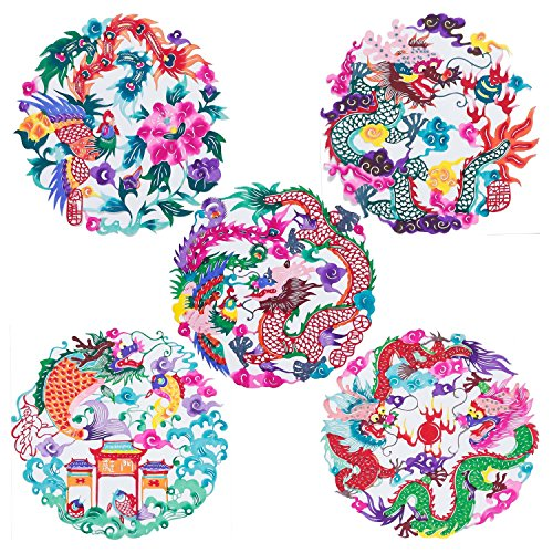 Shayier China Intangible Cultural Heritage - Chinese Color Handmade Paper-cut (Dragon & Phoenix)