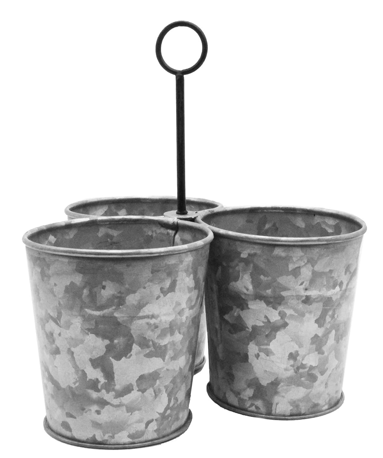 Galvanized 3 Metal Bucket Caddy Planter Farmhouse Rustic Style, Center Hanger Garden Beverage Container Utensil Organizer by Well Pack Box