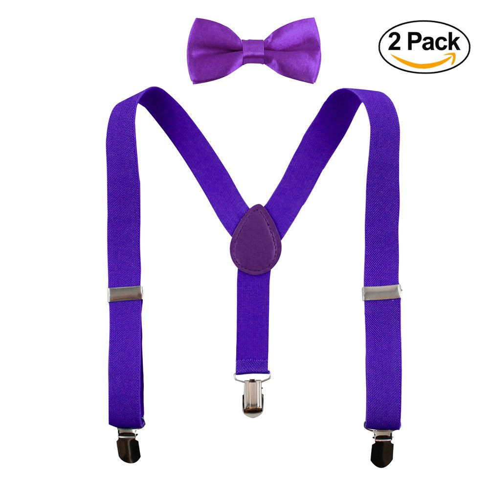 Luca Gabriel Toddler Boys' Suspenders and Solid Color Bowtie Matching Set - Purple (2-Pack) by Luca Gabriel