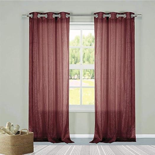 Duck River Textiles – Metallico Faux Linen Metallic Textured Grommet Top Window Curtains for Living Room Bedroom – Assorted Colors – Set of 2 Panels 40 X 84 Inch – Burgundy