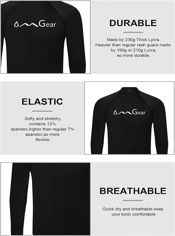 OMGear Rash Guard Swim Shirt Sun Block Short Long Sleeve Surf Tee Swimsuit Top: Clothing