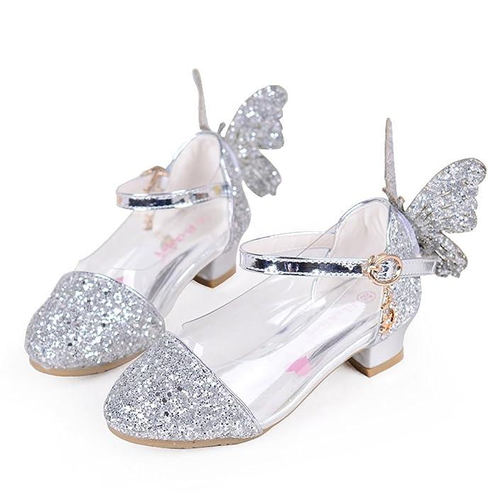 5124379340a9e9 ... Amazon.com Girls Princess Sandals Kids Wedding Shoes High Heels Dress  Shoes Party Shoes Sandals ...