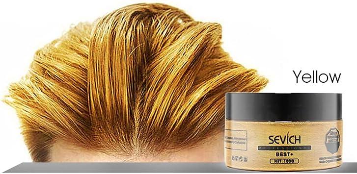 Hilai 1 UNID Unisex Color de pelo Cera Tinte para el cabello Crema para el peinado Natural Hairstyle Pomada Lavable Cera temporal para la fiesta de ...