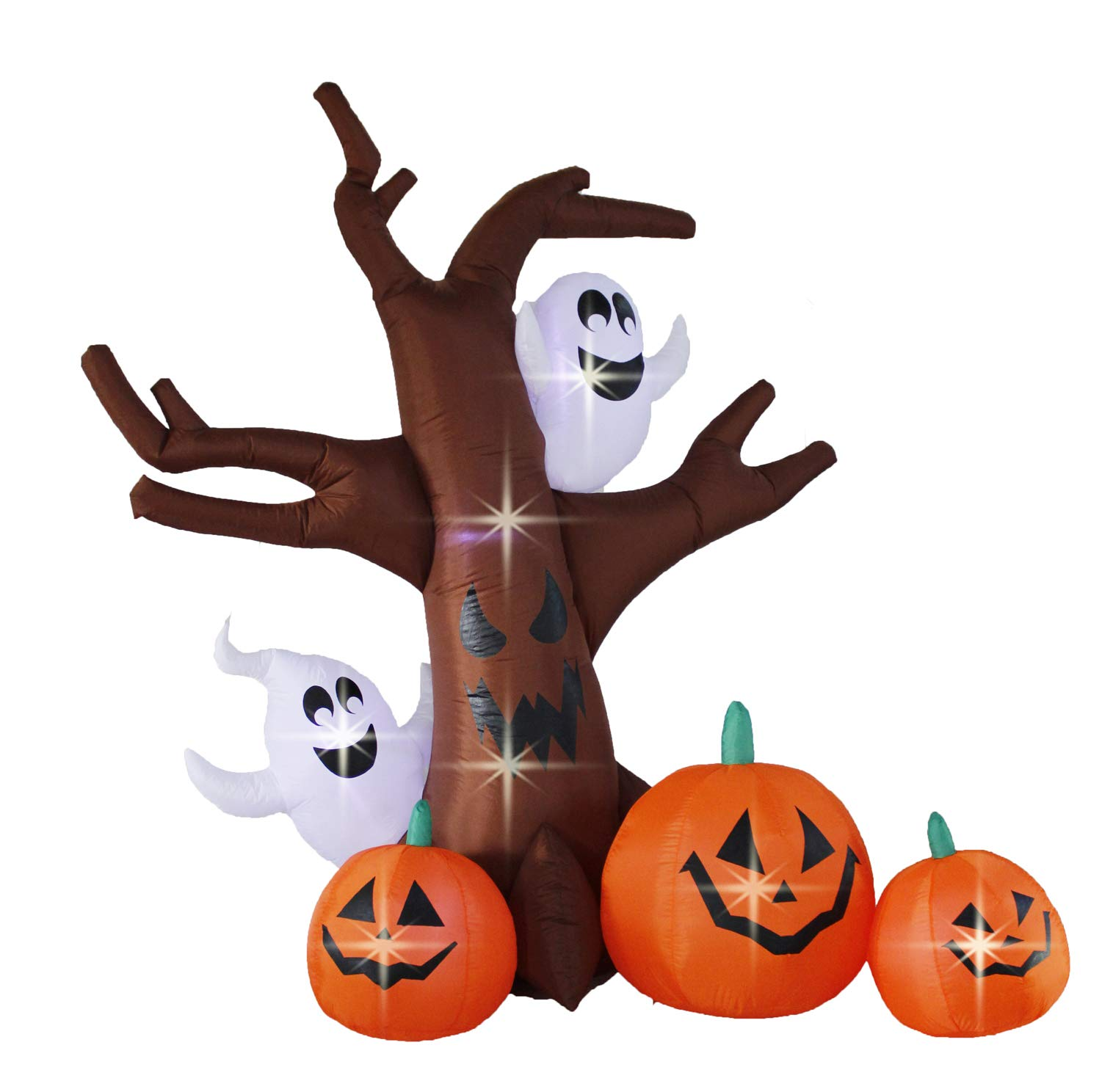 Bigjoys 8 Ft Halloween Inflatable Tree with Ghost Pumpkin Decoration for Indoor Outdoor Home Yard Party
