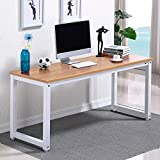 Yaheetech Modern Brown Wood Computer Desk Home Office Metal Frame Laptop Table PC Workstation