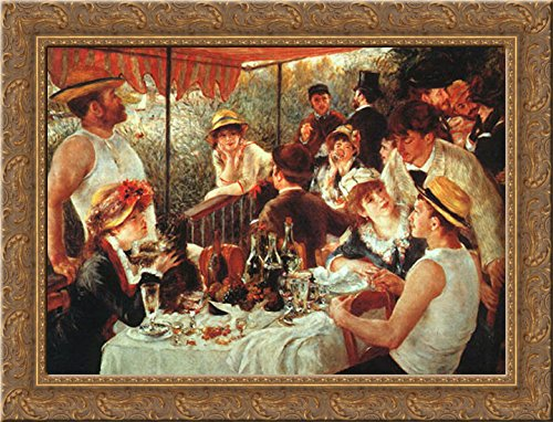 - The Boating Party Lunch 24x20 Gold Ornate Wood Framed Canvas Art by Renoir, Pierre Auguste