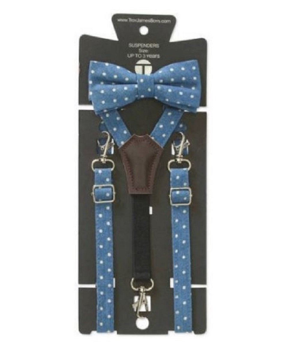Troy James Genevive Goings Collection Polka Dot Bow Tie & Leather Suspenders 2 Pc Set (3-6 Years)