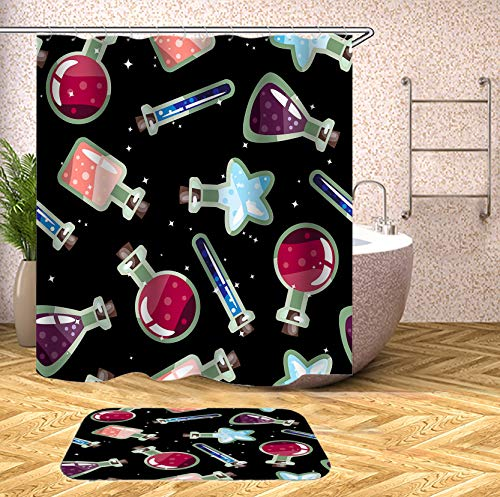 SARA NELL Shower Curtain Halloween Potion Bottle Pattern Shower Curtains (72