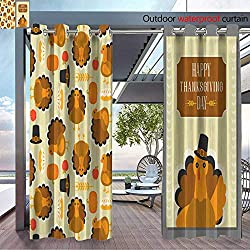 BlountDecor Patio Curtains Wild Turkey Seamless Pattern and Greeting Card Template for Thanksgiving Day FLA Outdoor Curtain for Patio,Outdoor Patio Curtains W96 x L108/Pair