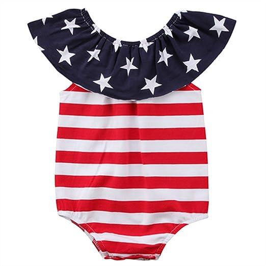 2f1fc6ecd Amazon.com  WINAGAINER Baby Girl Boy American Flag Romper Bodysuit ...