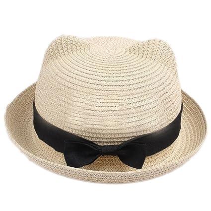 3a7d86b4d01 eYourlife2012 Girl s Vintage Cat Ear Bowler Straw Hat Sun Summer Beach Cap  (Biege)