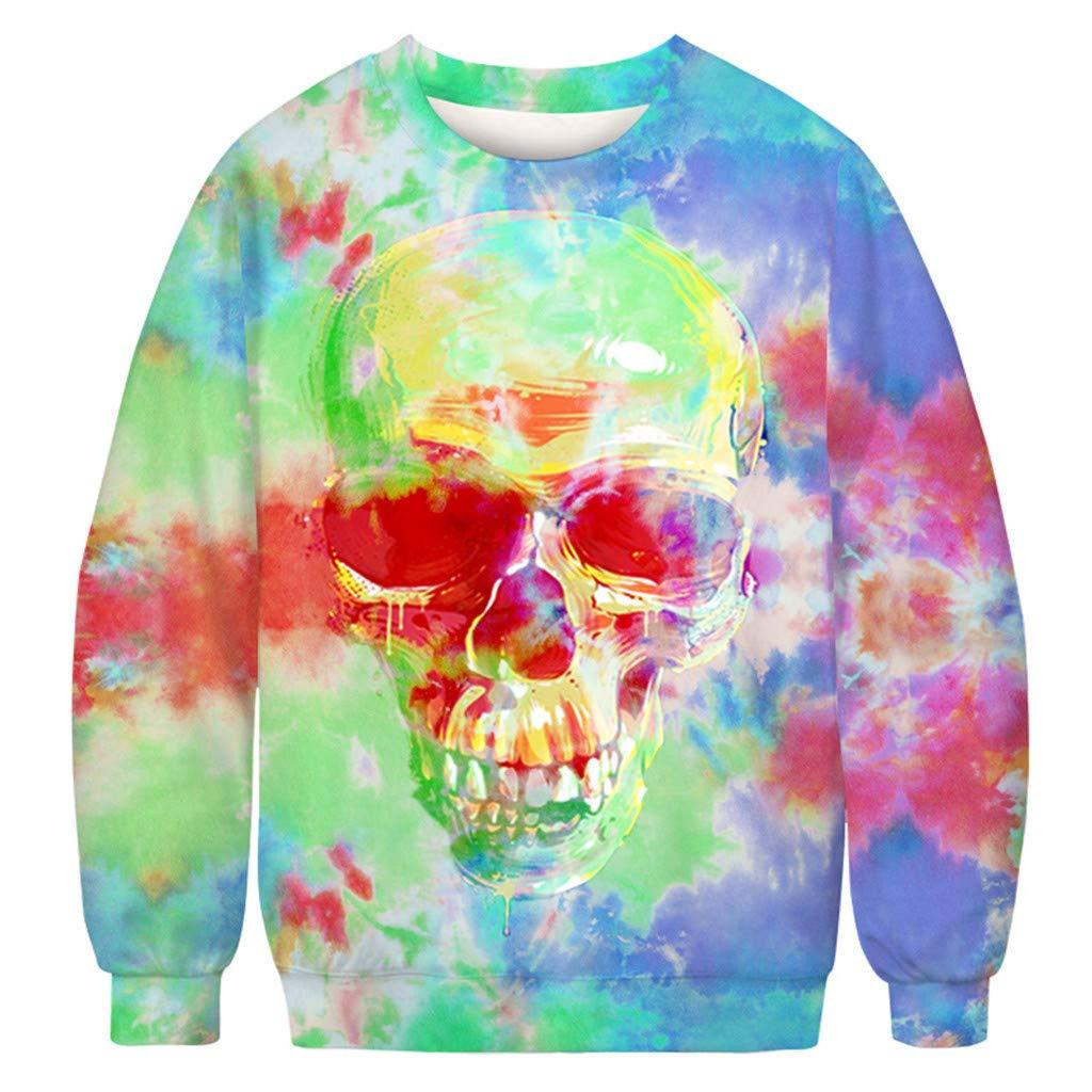 charmsamx Mens Crewneck Sweatshirt Halloween Pumpkin Printed Skull Sweatshirt Pullover Sweatshirts Blue, L by charmsamx