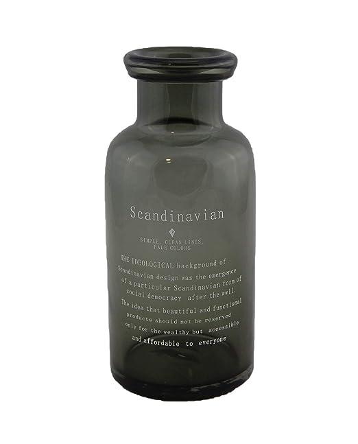 Homevibes Botella de Vidrio Rustica Decorativo Color Negro con Frase Scandinavian, Jarron de Jardin, Uso Exterior (20)