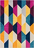 Cheap Well Woven Bailey Geometric Tile Bright Fuchsia Purple Blue Yellow Orange Modern 5×7 (5′ x 7′) Area Rug