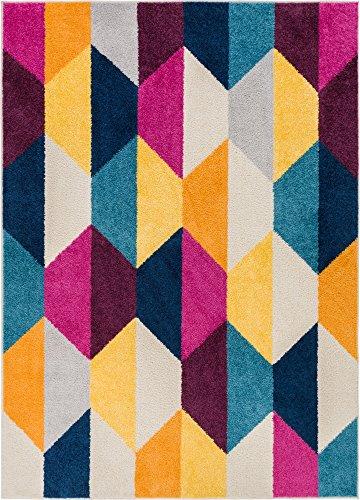 Bailey Geometric Tile Bright Fuchsia Purple Blue Yellow Orange Modern 5x7 (5' x 7' ) Area Rug (Purple Tiles Yellow)