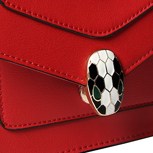 Bag Designer Leather Chain Crossbody Fashion Pu Women Handbags Bag Snake Shoulder Balence for Red Small ZxqnaqT