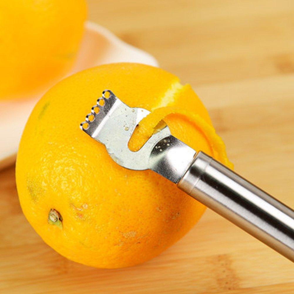 LNIMIKIY Fruit Zester Grips Acero Inoxidable Peeling Tool Lemon Durable Orange Manual Portable Cocina Restaurante Color de la imagenNaranja