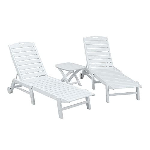 POLYWOOD 3-Pc Eco-Friendly Chaise Set with Cushions