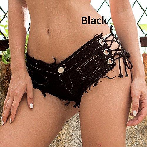 vita sexy pantaloncini nappa Black nappe in in con YAO in donne le lacci Mini a jeans per denim shorts bassa di con pizzo qzp0OwC