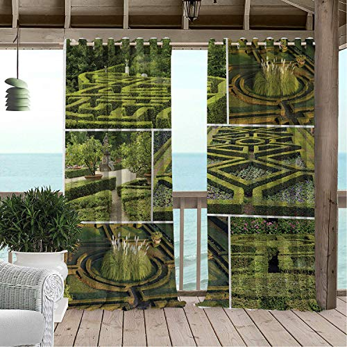 Linhomedecor Gazebo Waterproof Curtains Boxwood Hedge Geometric and Beautiful Garden Art Floral Italian Tuscany Maze Landscape Multicolor pergola Grommets Backdrop Curtain 84 by 72 inch - Octagonal Garden Gazebo