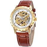 Mens Mechanical Watch Automatic Skeleton Dial Gold Tone Bezel Brown Leather Band AMW-159