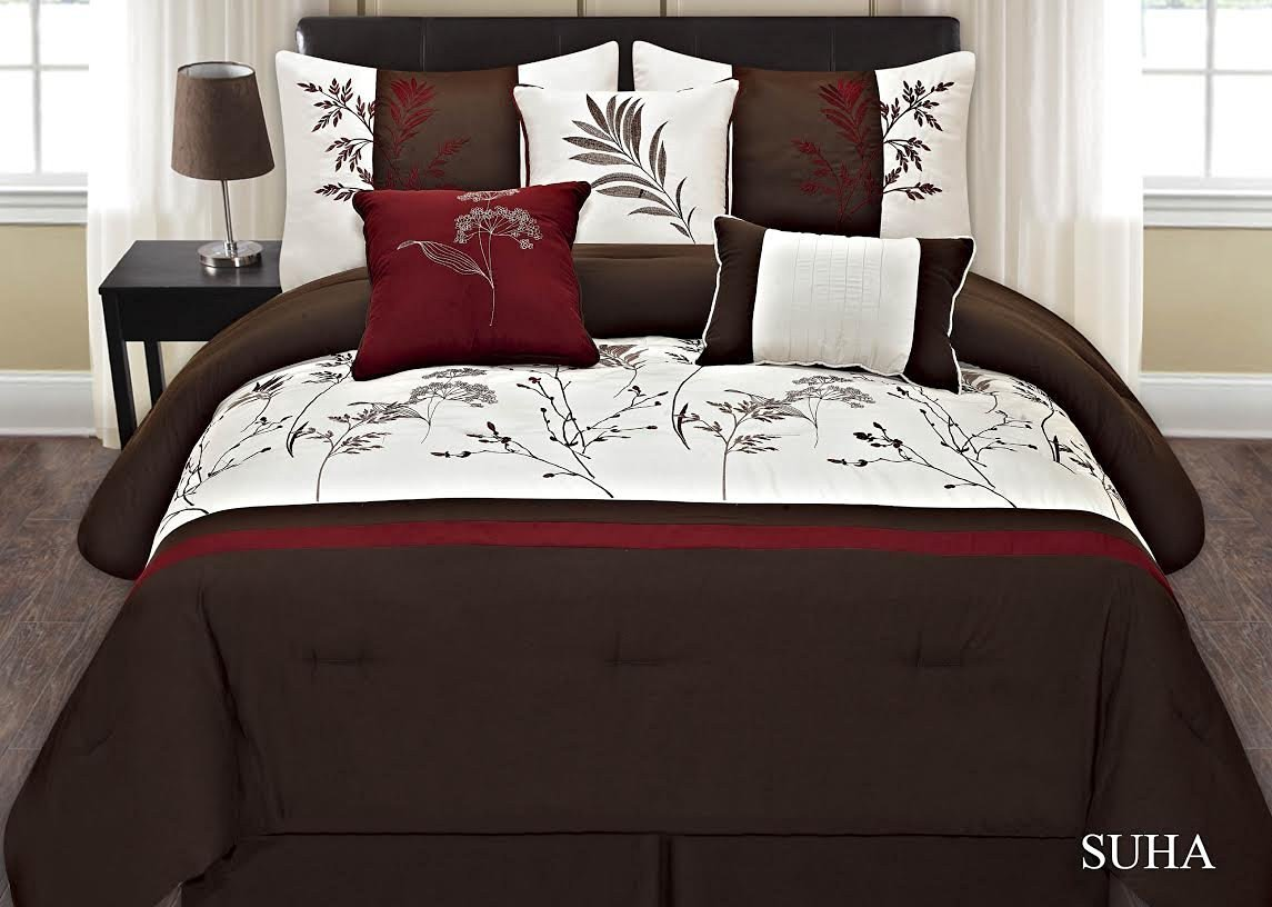 7-pc Embroidery Bedding Brown Off White Burgundy Comforter Set