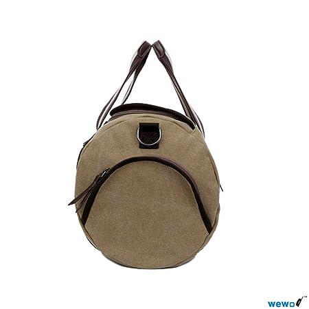 Nine Stars Hommes de poignée sac de sport sac grande capacité sac week-end en toile sac à main sac en bandoulière sac bandoulière, Khaki (Multicolore) - ST1315