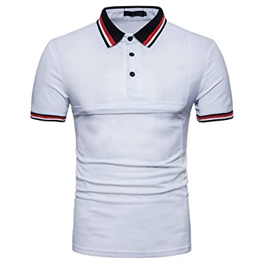 Mieuid Hombre Polo Camisa Básica Verano Elegante Costura Casual ...
