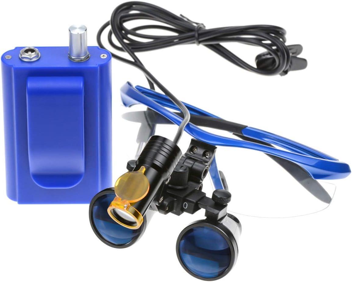 2,5 x 420 mm Lente di ingrandimento per binocolo chirurgico colore: blu Aprodite con filtro e scatola in alluminio con luce LED portatile da 5 W