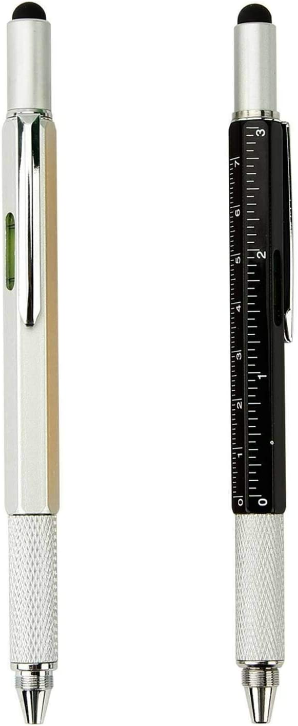 [2-Pack] 5-in-1 Universal Touch Screen Stylus + Ballpoint Pen + Ruler + Level + Screwdriver for Phone Tablet PC iPhone iPad Samsung LG