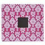 American Crafts Patterned Post Bound Scrapbooking Album, Dark/Light Pink Damask, 12 by 12-Inch