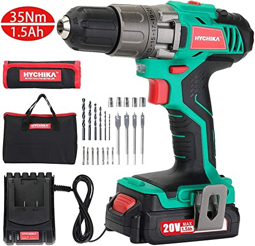 Cordless Drill Driver Kit, HYCHIKA 20V Max Drill Set With Lithium-Ion Battery, 1H Fast Charging, 21 1 Clutch, 310 In-lb Torque, 2 Variable Speed Built-in LED for Drilling Wood, Metal and Plastic