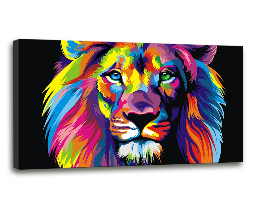 Amazon com large wall art modern art wall decor colorful lion art pictures print on canvas for living room home decor size20x40inch ready to hang